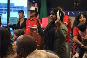 Nimco Abdirahman addressing City Council. Photo Credit: Celia Berk