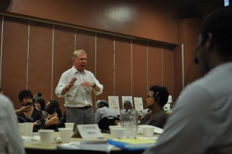 Seattle Mayor Ed Murray addresses the crowd at yesterday's road safety meeting.