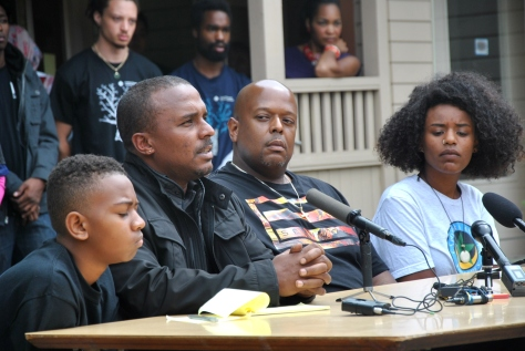 Freedom school participants at a press conference denouncing King County's plan to build a juvenile detention center. Photo Credit: Celia Berk