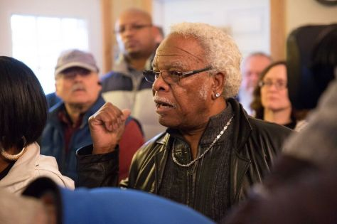 "West Hill resident and longtime opponent of ""Mt. Anderson,"" Curtis Faulks speaks. (Photo Credit: Alex Garland)"