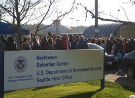 Protest at the Northwest Dentition Center. (Photo Credit: Joseph C Denton)