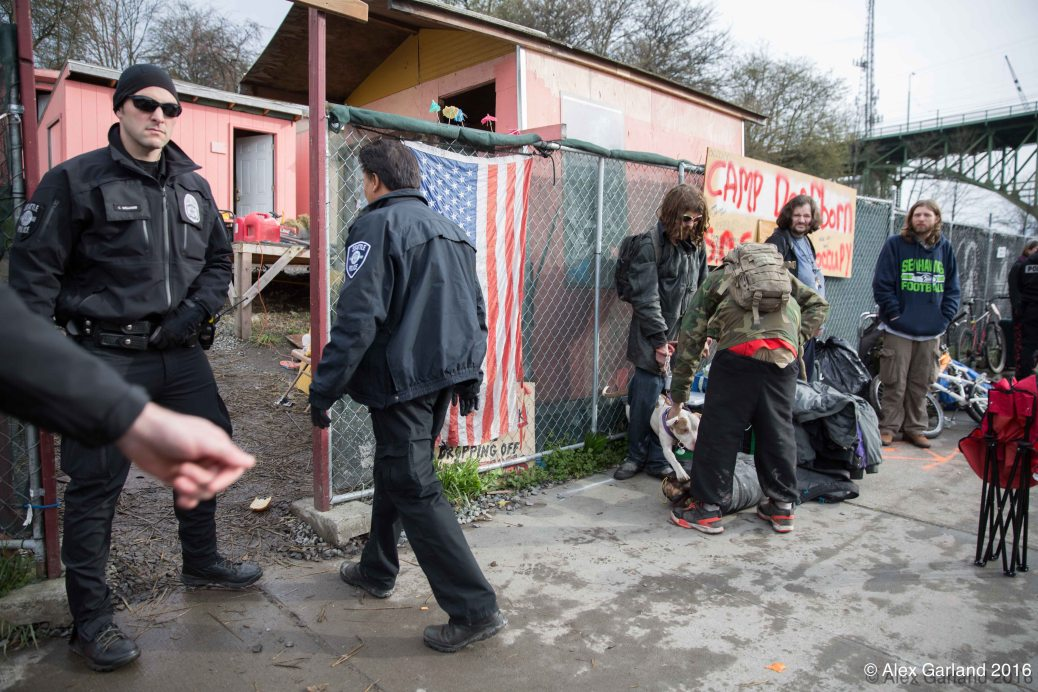 Camp Dearborn Eviction (Photo: Alex Garland)