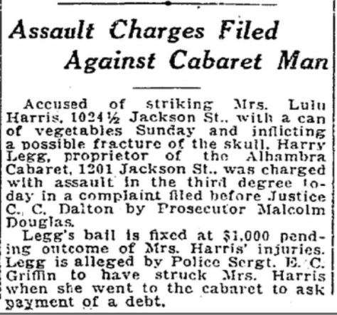 1922 - HARRY LEGG - Assault charges against cabaret man, Seattle Times June 8, Page 5